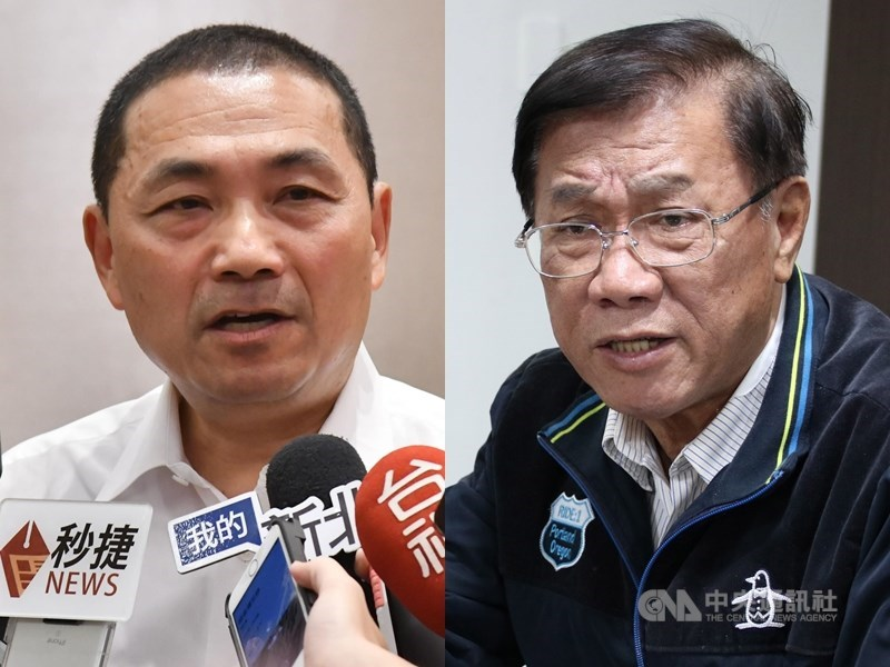 新北市長侯友宜`(左)未點頭接任韓國瑜新北市總統競選總部主委,林明溱(右)18日表示,若不積極與黨合作,乾脆退出國民黨,不要在黨內「矯情」。(中央社檔案照片)