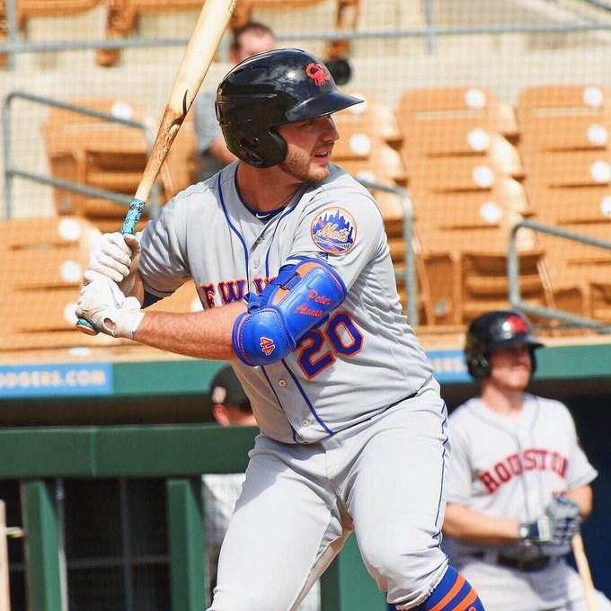 美國職棒大聯盟MLB大都會新秀阿隆索18日揮出本季第40轟,打破國家聯盟菜鳥單季最多轟紀錄。(圖取自twitter.com/pete_alonso20)