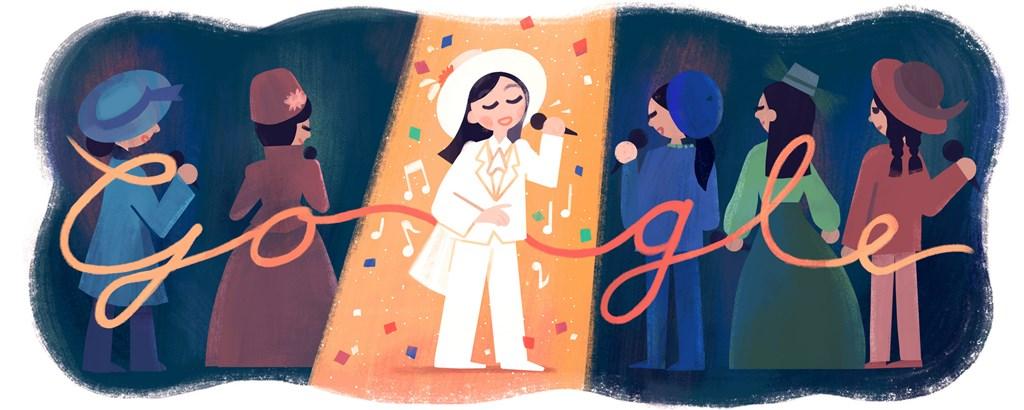 為了紀念台灣一代歌后鳳飛飛66歲冥誕,Google特別以「帽子歌后」的特色為概念,設計出專屬的Google Doodle主題。(Google提供)中央社記者吳家豪傳真 108年8月20日