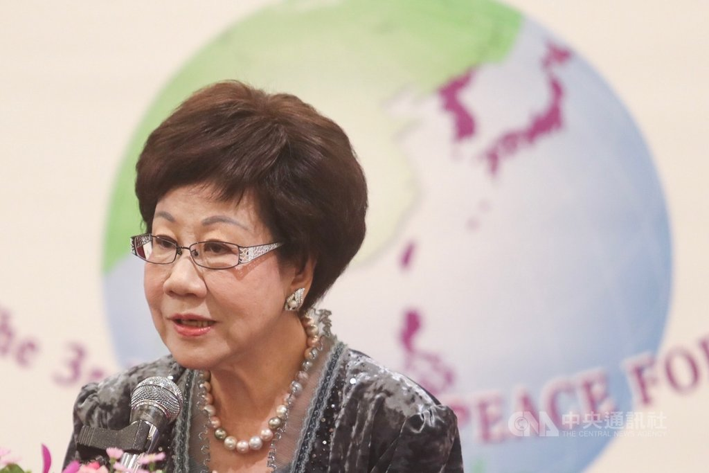 由民主太平洋聯盟舉辦的「第3屆東亞和平論壇」24日上午在台北圓山飯店登場,前副總統呂秀蓮以「東亞2020:困境與展望」為題進行開幕演講。中央社記者吳家昇攝 108年8月24日