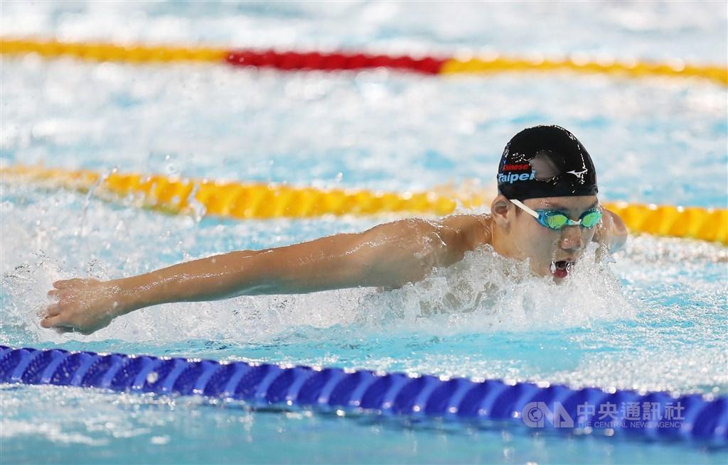 建國中學17歲小將王冠閎26日在FINA世界青少年游泳錦標賽200公尺蝶式決賽,飆出全國新猷的1分56秒48,並達奧運A標。(中央社檔案照片)