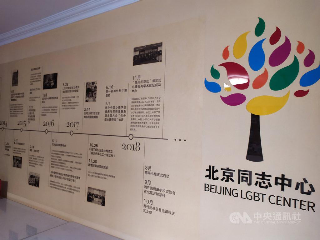 北京同志中心成立於2008年,致力推動同志心理諮詢、法律諮詢以及HIV檢測社區服務,以及同志去病理化宣導和多元性別教育。(資料照片)中央社記者繆宗翰北京攝 108年8月27日