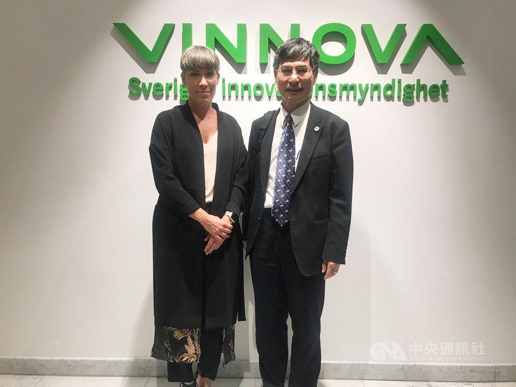 陳良基26日拜會瑞典創新局,由執行長艾薩克森(Darja Isaksson,左)親自接待。(科技部提供)中央社記者林育立柏林傳真 108年8月28日