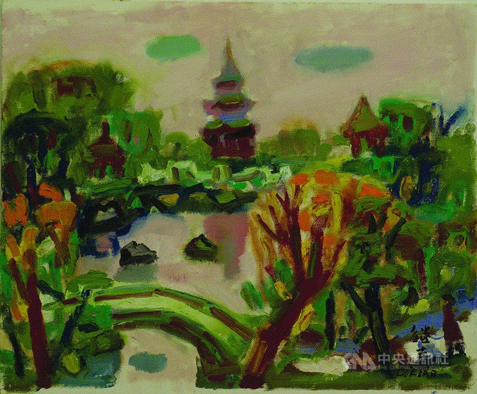 台灣畫家廖繼春是順天美術館第一位收藏的藝術家,他的「公園一隅」筆觸率真自然,畫作尺幅雖小,仍充分展現景色的迷人與熱情的生命力。(國美館提供)中央社記者趙靜瑜傳真 108年8月28日