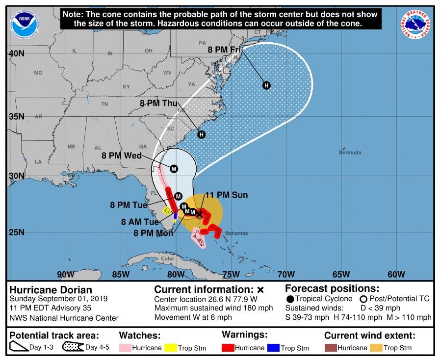 美國氣象人員表示,颶風多利安(Dorian)2日以史上第2強大西洋風暴之姿在巴哈馬登陸,預計接於未來兩天危險逼近佛羅里達州。(圖取自nhc.noaa.gov)