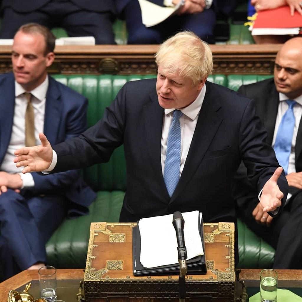 英國國會10日否決首相強生(中)提前大選的動議。(圖取自facebook.com/ukparliament)