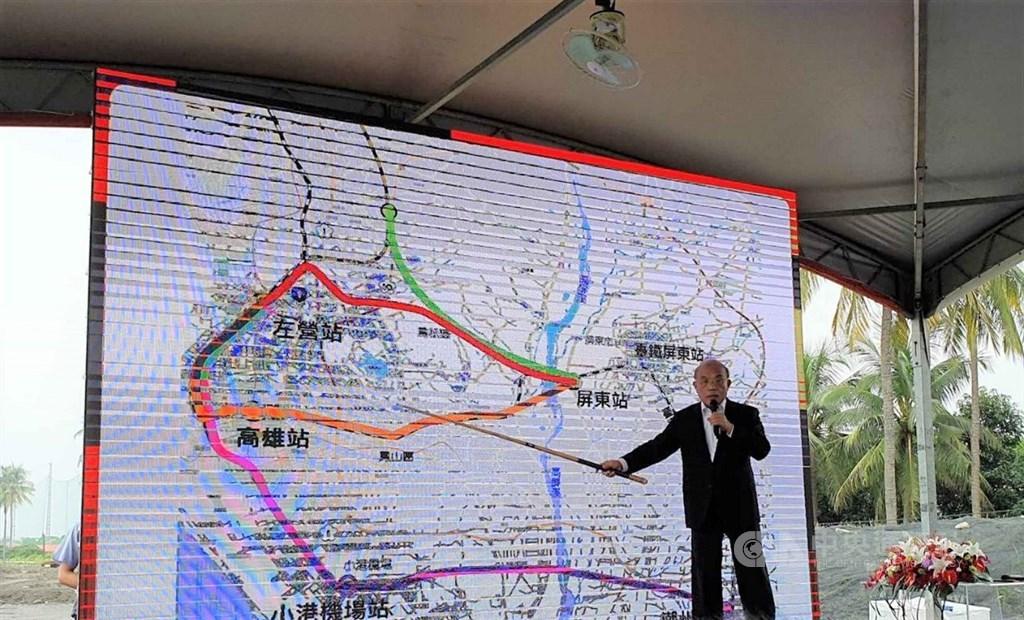 行政院長蘇貞昌(圖)10日返回家鄉屏東市,宣布高鐵將延伸到屏東,並要求路線盡速定案。中央社記者郭芷瑄攝 108年9月10日