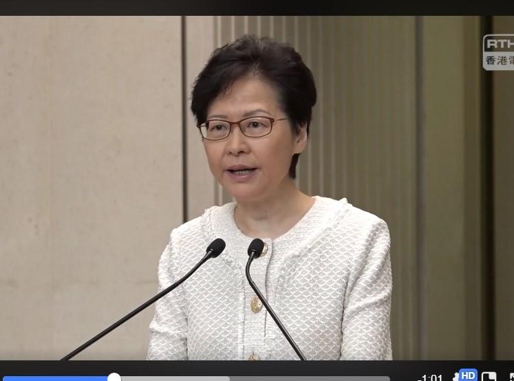 香港行政長官林鄭月娥10日表示,外國政府或國會不應該干預香港事務,並對美國國會提出的「香港人權與民主法案」表示遺憾。(圖取自facebook.com/RTHKVNEWS)