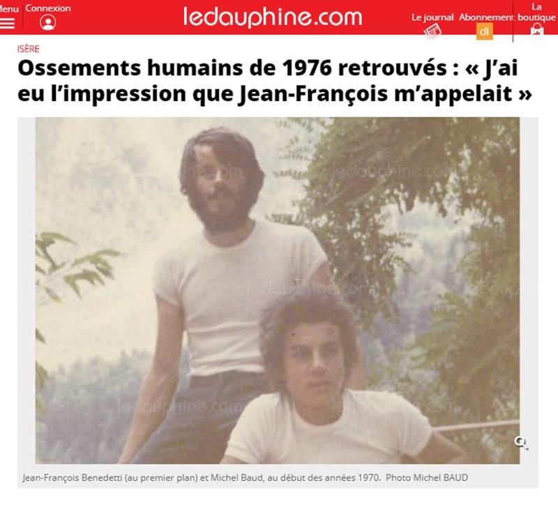 法國青年尚-佛蘭斯華(前)1976年攀登阿爾卑斯山脈,從此下落不明。隨著高山冰川逐漸融化,救援隊發現一具人類遺骸,推測可能是這名失蹤43年的登山客。(圖取自多芬自由報網頁ledauphine.com)