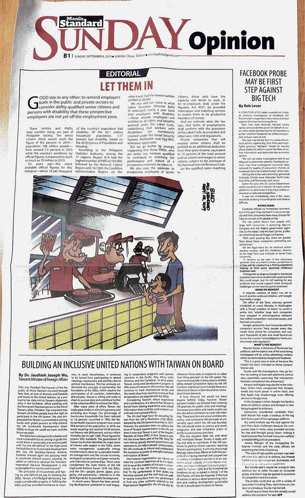 菲國主流媒體「馬尼拉標準報」8日刊登外交部長吳釗燮投書。投書指出,阻止台灣參與聯合國相關會議、機制和活動不符合聯合國永續發展目標,呼籲聯合國勿因政治干預拋下台灣。(駐菲代表處提供)中央社記者陳妍君馬尼拉傳真 108年9月11日