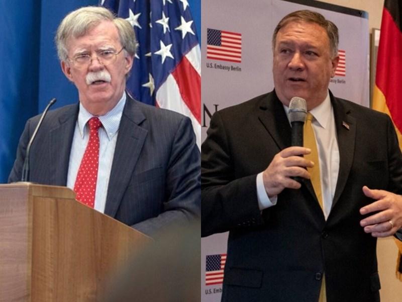 雖然川普政府內不少人質疑與塔利班談判,但美國國務卿蓬佩奧(右)與白宮國家安全顧問波頓(左)在此事與一些其他議題上尤其不合。(左圖取自twitter.com/AmbJohnBolton、右圖取自twitter.com/SecPompeo)