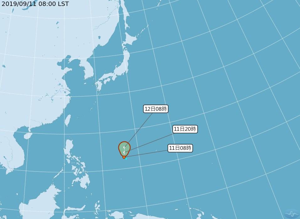 氣象局11日表示,位於太平洋地區的熱帶性低氣壓最快11日生成第16號颱風「琵琶」,預計對台灣沒有影響。(圖取自中央氣象局網頁cwb.gov.tw)