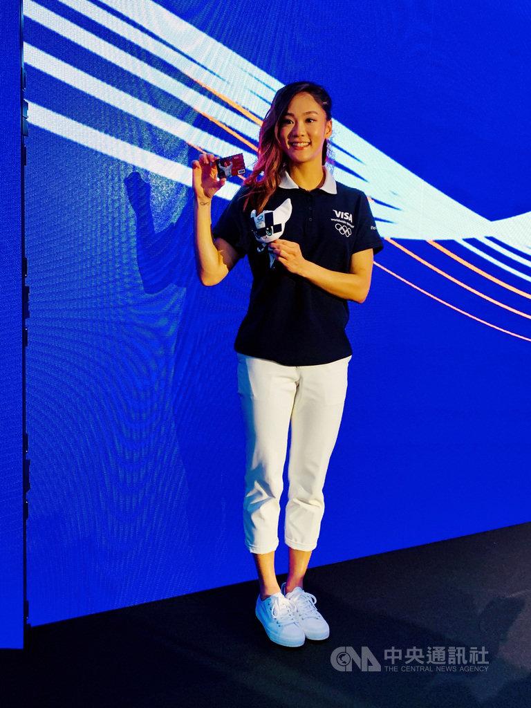 台灣空手道女將文姿云,2日受贊助商邀約站台,還喜獲一張印有她肖像的VISA信用卡,她笑說要把信用卡裱起來,將來跟小孩炫耀。中央社記者龍柏安攝 108年9月12日