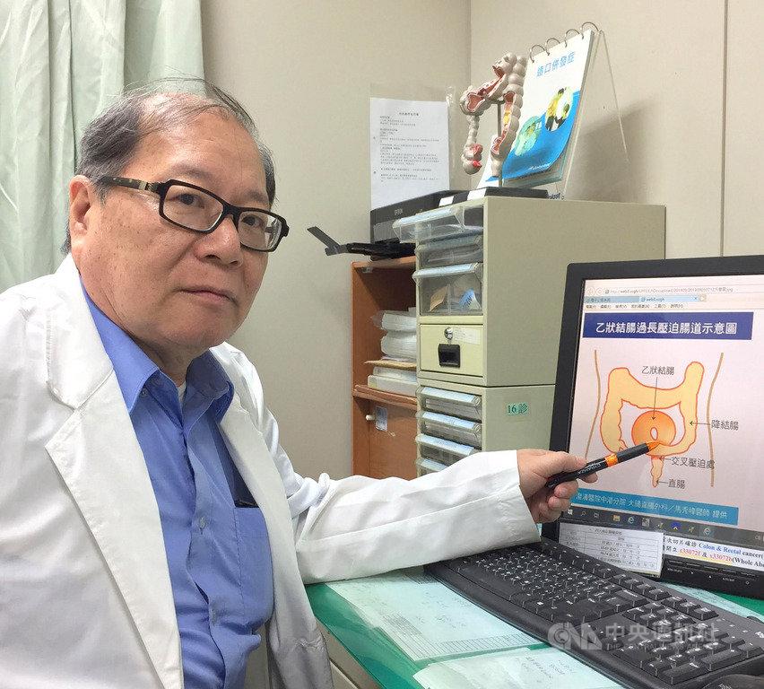 澄清醫院中港院區大腸直腸外科主治醫師馬秀峰16日指出,正常的大腸系統像ㄇ字形,乙狀結腸位於降結腸和直腸之間,正常的長度在20公分到30公分之間。先天乙狀結腸過長的人,年紀增大越有扭結的風險,最好及早做縮短手術以免後患。(澄清醫院提供)中央社記者郝雪卿傳真  108年9月16日