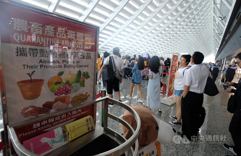 因應南韓發生非洲豬瘟,從17日下午起,自南韓入境旅客違規攜帶豬肉產品入境遭查獲,罰鍰新台幣20萬元。中央社記者邱俊欽攝  108年9月17日