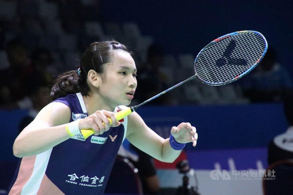 戴資穎(圖)18日在中國羽球公開賽首輪僅花32分鐘擊敗馬來西亞女將謝抒芽,收下16強門票。(中央社檔案照片)