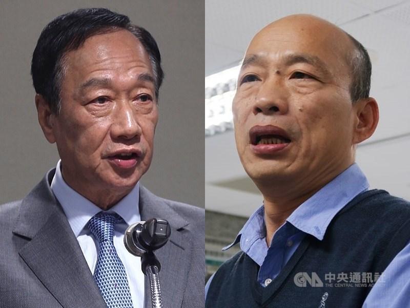 消息人士19日表示,韓國瑜(右)簽署的「無色覺醒十大主張」部分主張與「一國兩制」精神雷同,而郭台銘(左)堅決反對「一國兩制」。(中央社檔案照片)