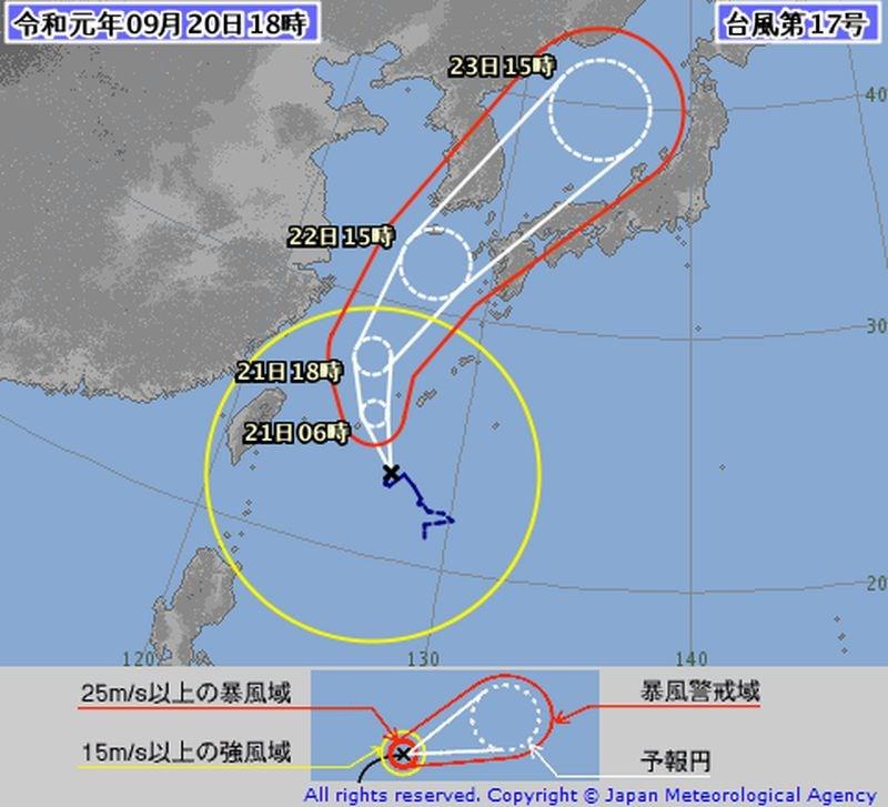 輕度颱風塔巴朝日本、南韓方向移動。(圖取自日本氣象廳網頁jma.go.jp)