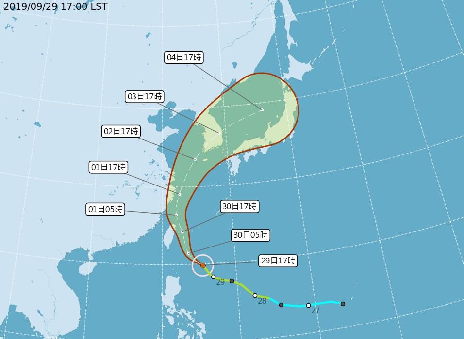 中央氣象局29日上午發布輕度颱風米塔海上颱風警報,將於晚上8時30分發布陸上颱風警報。(圖取自中央氣象局網頁cwb.gov.tw)