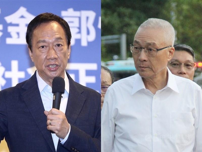 鴻海創辦人郭台銘(左)幕僚17日表示,從郭台銘被註銷國民黨籍後,黨主席吳敦義(右)有一直在釋放善意,而兩人溝通管道一直是順暢的。(中央社檔案照片)