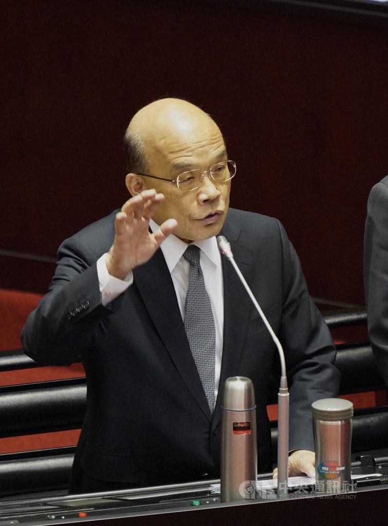 行政院長蘇貞昌4日表示,有關死刑,法律規定有死刑,法院判決死刑定讞,只要應該執行,就要執行。中央社記者徐肇昌攝 108年10月4日