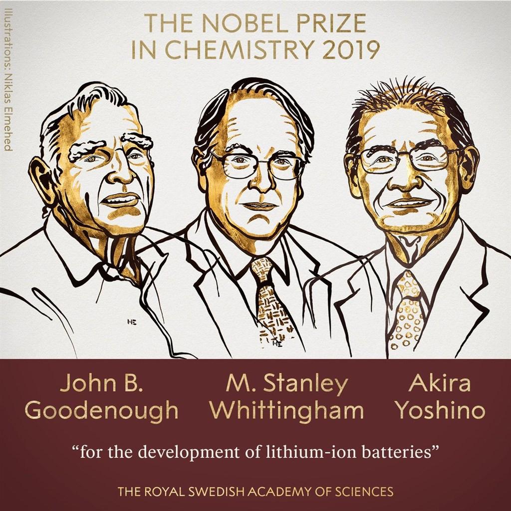 高齡97歲的鋰電池之父古德諾(左)、英國學者惠廷安(中)和日本研究員吉野彰(右)獲2019年諾貝爾化學獎。(圖取自twitter.com/NobelPrize)