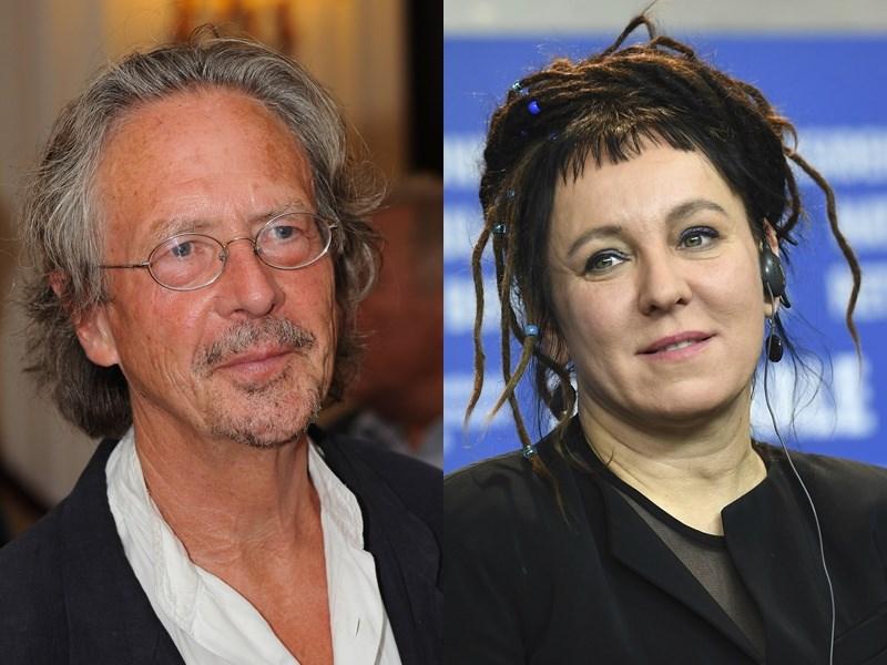 2019年諾貝爾文學獎由奧地利作家彼得.漢德克(左)獲得,2018年文學獎則由波蘭女作家奧爾嘉.朵卡萩(右)拿下。(檔案照片/美聯社)