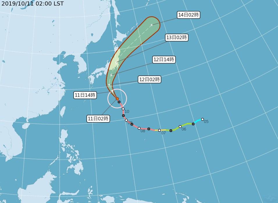 中央氣象局10日晚間預報,強烈颱風哈吉貝將撲向日本。(圖取自中央氣象局網頁cwb.gov.tw)