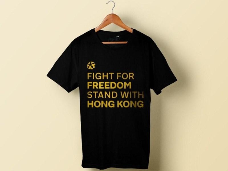 NBA與中國的爭議可能延燒到22日開幕戰,舊金山的台灣裔美國球迷在網路上募款約新台幣131萬元製作挺港T恤,準備當天發送。(圖取自gofundme.com)