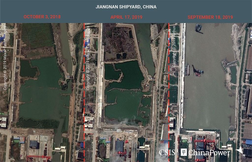 衛星照片顯示,中國自製的第2艘航空母艦、也是第一艘全尺寸航空母艦,正在上海江南造船廠特別闢建的廠區穩步進行,預料其船體可於一年內完工。(圖取自chinapower.csis.org)