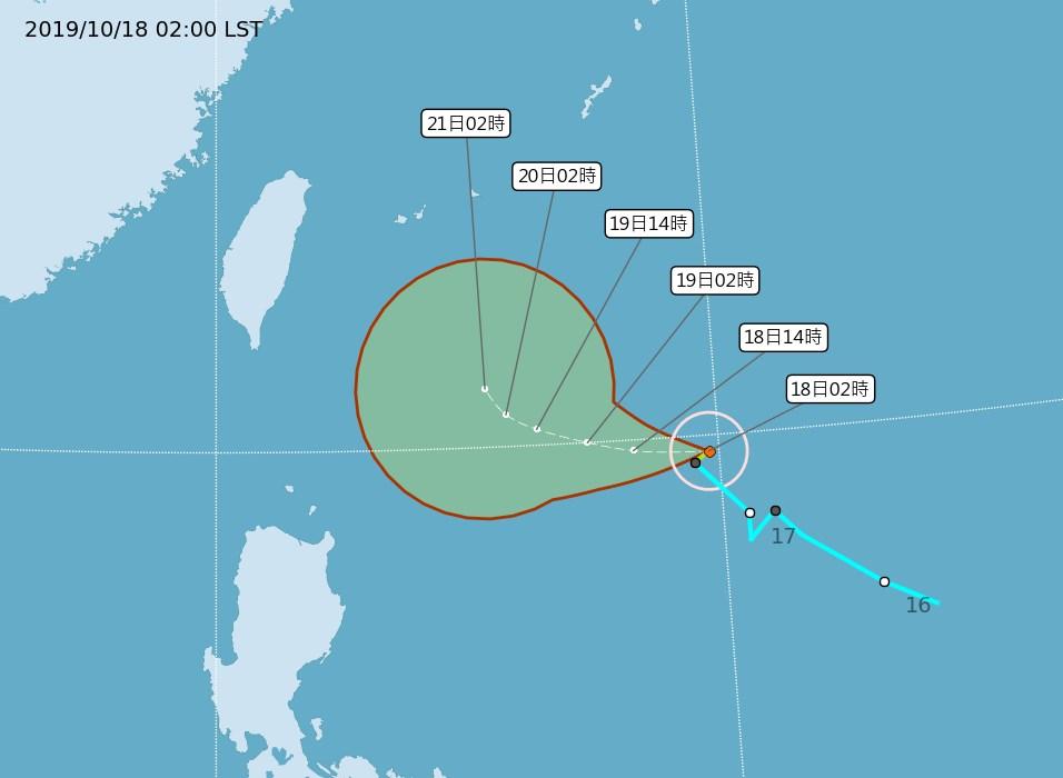 氣象局指出,18日清晨2時今年第20號輕度颱風「浣熊」生成,中心位於鵝鑾鼻東南東方約980公里的海面上,暫時偏西朝菲律賓緩慢移動。(圖取自中央氣象局網頁cwb.gov.tw)