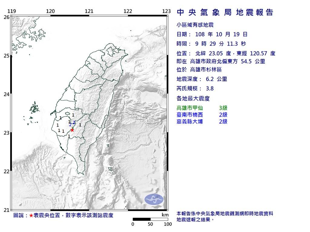 高雄市杉林區19日上午9時29分發生芮氏規模3.8地震。(圖取自中央氣象局網頁)