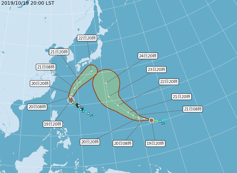 中央氣象局19日觀測,浣熊(左)增強為中度颱風,而關島海面的熱帶性低氣壓形成輕度颱風博羅依(右)。(圖取自中央氣象局網頁cwb.gov.tw)