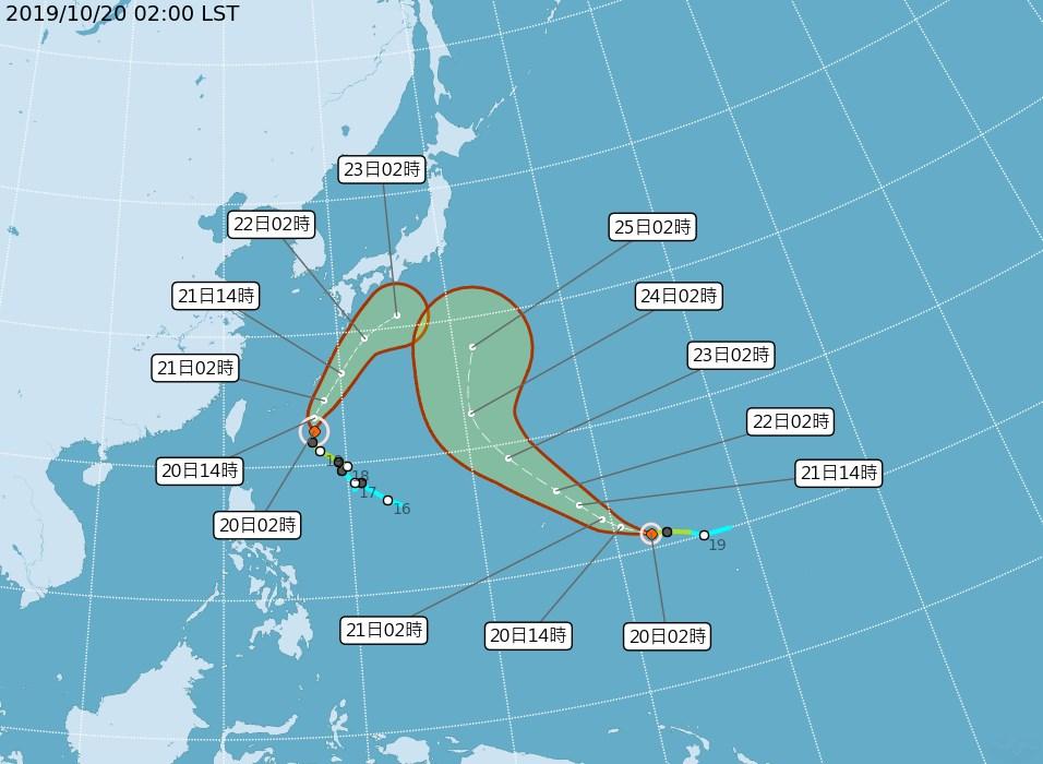 氣象局表示,颱風浣熊(左)及博羅依(右)預計都將朝日本方向移動,對台灣並無直接影響。(圖取自中央氣象局網頁cwb.gov.tw)