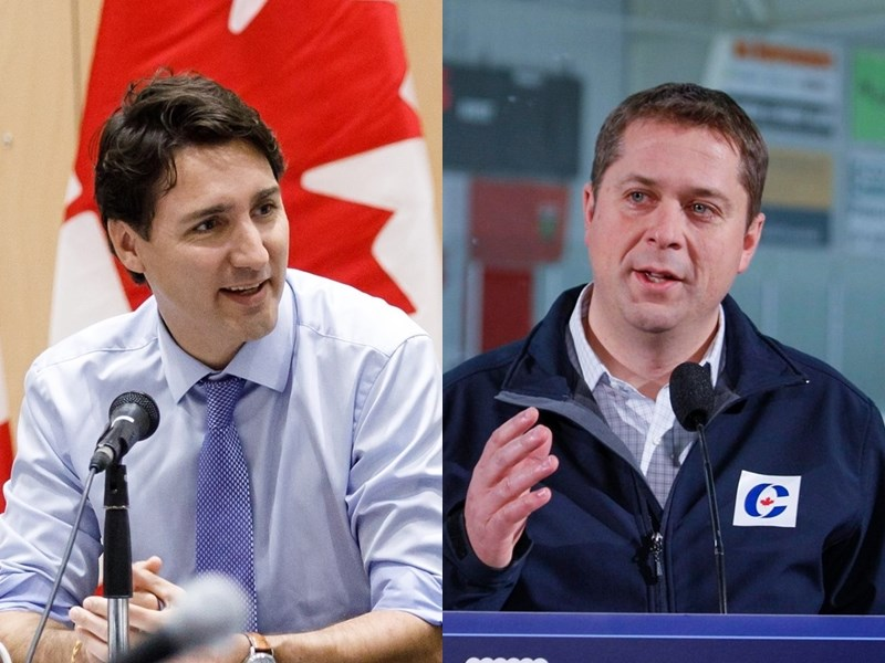 加拿大國會選舉21日投票,由謝爾(右)領導的保守黨與由總理杜魯道(左)領導的自由黨勢均力敵。(右圖取自facebook.com/AndrewScheerMP,左圖取自facebook.com/JustinPJTrudeau)