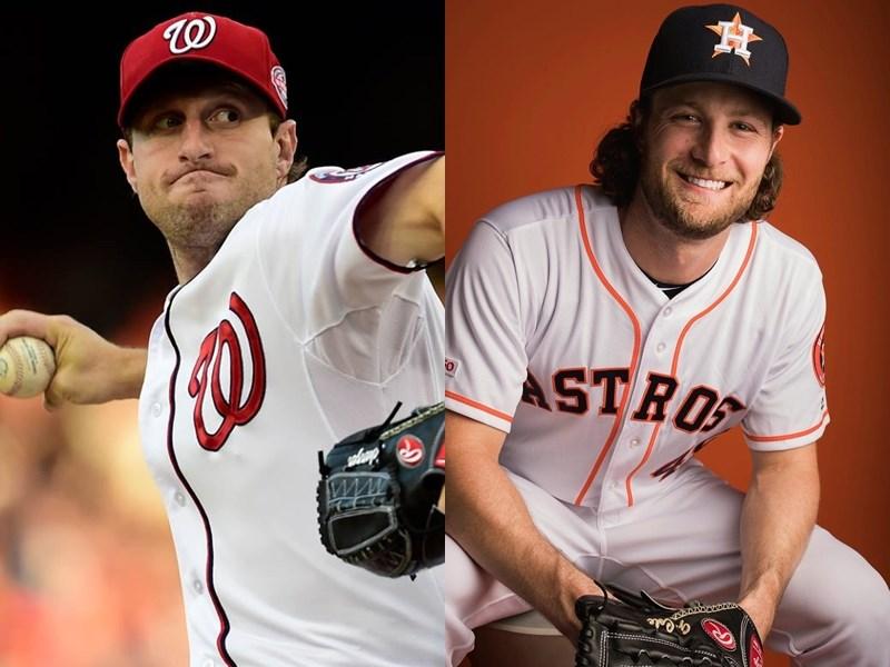 美國職棒大聯盟MLB世界大賽即將展開,首戰預計將由休士頓太空人柯爾(右)對上華盛頓國民薛哲(左)。(右圖取自柯爾IG網頁instagram.com/gerritcole45,左圖取自twitter.com/Max_Scherzer)
