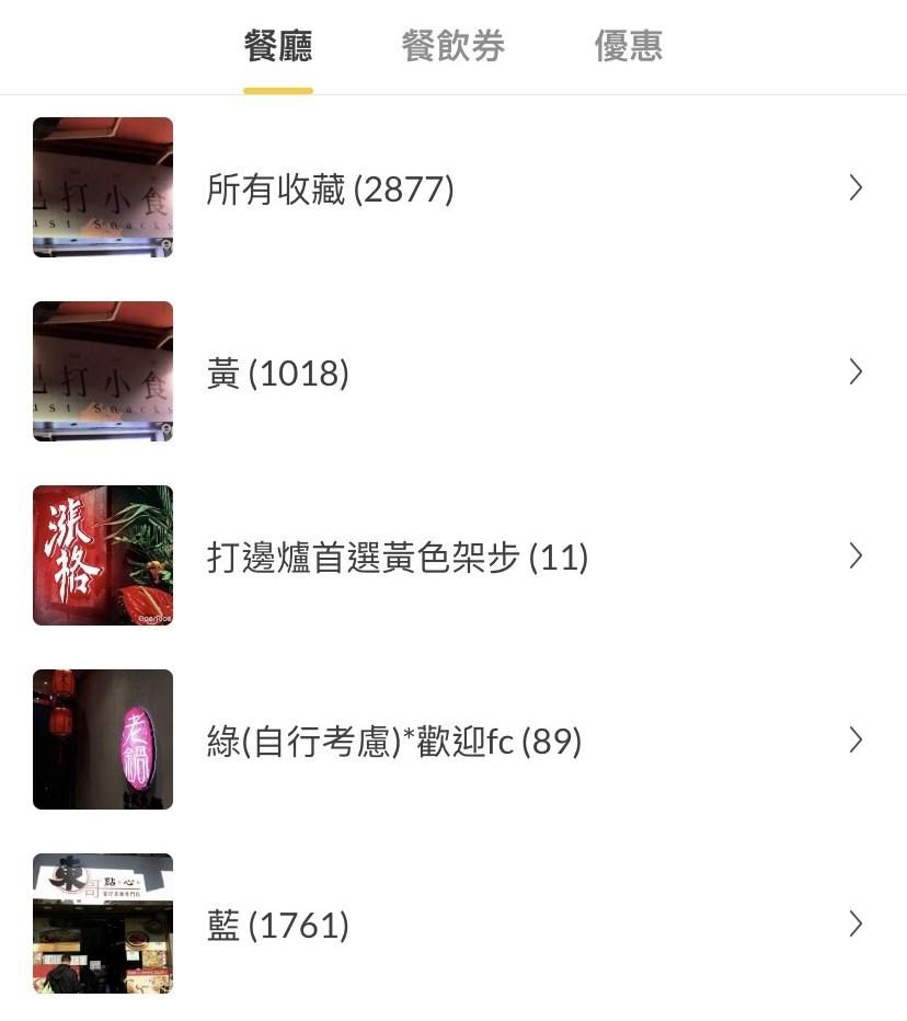 有網友在美食評價app「開飯喇」(OpenRice)製作了一份名單,標記出抵制親政府的「藍店」、支持抗爭的「黃店」,和聲稱政治中立的「綠店」。(圖取自美食評價app「開飯喇」網頁)