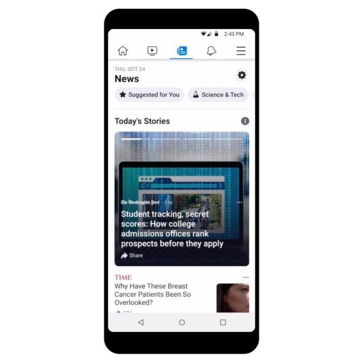 臉書25日開始推出專業生產內容的專用「新聞頁籤」,為擺脫假新聞平台惡名的最新措施。(圖取自facebook.com/zuck)