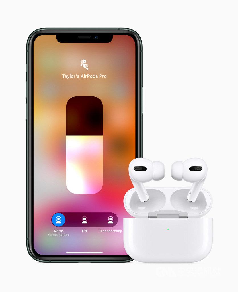 蘋果公司發表AirPods Pro無線耳機,採入耳式設計,輕點iPhone「控制中心」的音量滑桿,即可在主動式降噪功能和「通透」模式之間切換。(蘋果提供)中央社記者吳家豪傳真 108年10月29日