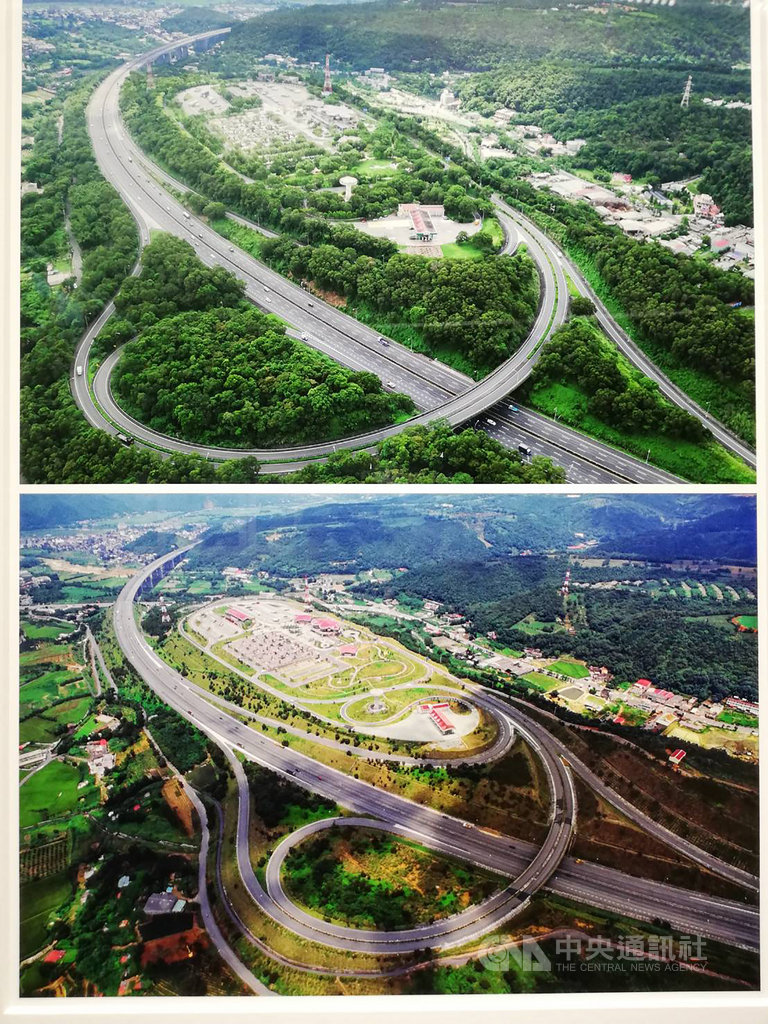 高速公路局30日起舉辦「國道.綠廊道-從齊柏林看見國道建設」攝影展,從齊柏林拍攝的國3關西服務區空拍影像資料(下),與現在空拍機拍攝的照片(上)對比,可看見國道已成功復育出綠廊帶。中央社記者汪淑芬攝 108年10月30日