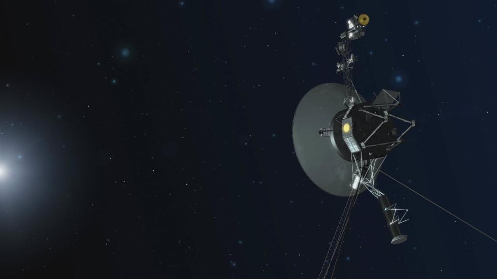 NASA先前宣布,旅行家二號2018年11月5日快速進入星際空間,一度接近到距太陽約177億公里之處。圖為旅行家二號概念圖。(圖取自NASA網頁nasa.gov)