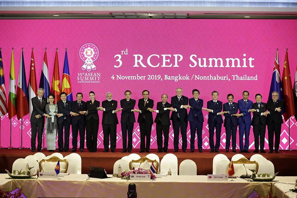第35屆東協峰會及相關會議11月2日到4日登場。圖為4日登場的第3屆區域全面經濟夥伴協定(RCEP)高峰會。(東協秘書處提供)中央社記者呂欣憓曼谷攝 108年11月4日