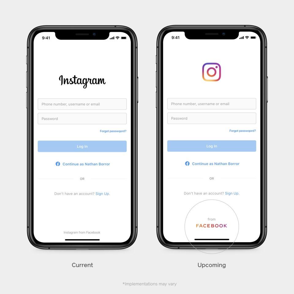 臉書公司4日公布新的公司商標(右下圈處),套用象徵「家族成員」的彩色字體。(圖取自臉書網頁newsroom.fb.com)