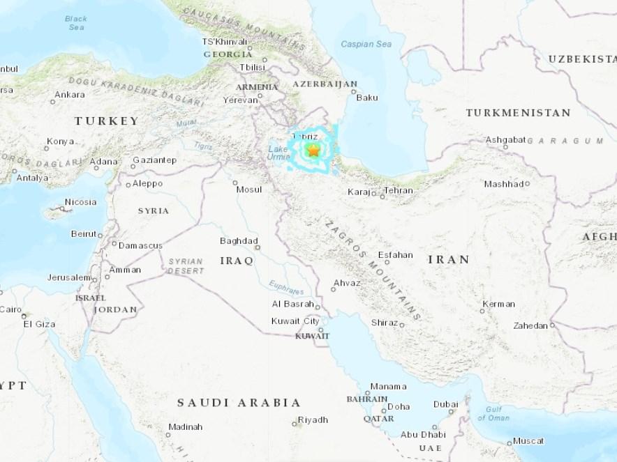伊朗西北部(星號處)8日發生規模5.8地震。(圖取自美國地質研究所earthquake.usgs.gov)
