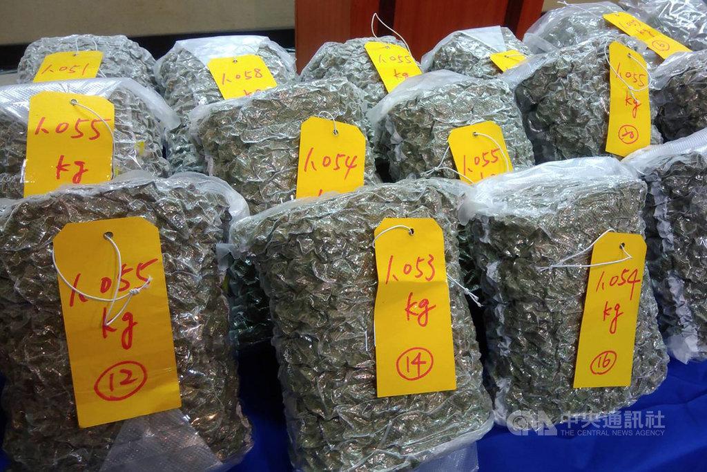 航警局刑事警察大隊表示,一名加拿大籍男子提領行李要通關時,當場遭海關關員攔下,並在行李中發現30大包真空包裝物品,總重3萬1629公克,經採樣送檢驗後,確認為二級毒品大麻花。(航空警察局提供)中央社記者吳睿騏桃園機場傳真 108年11月12日