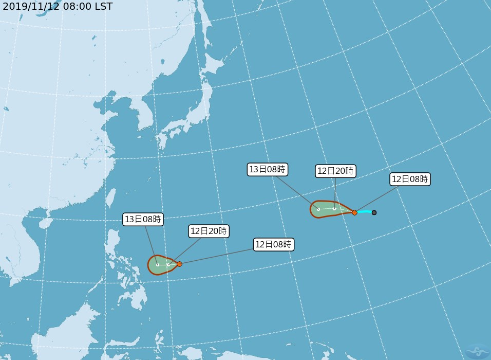 中央氣象局觀測,目前海面上有兩個熱帶性低氣壓,都可能發展為颱風。(圖取自中央氣象局網頁cwb.gov.tw)