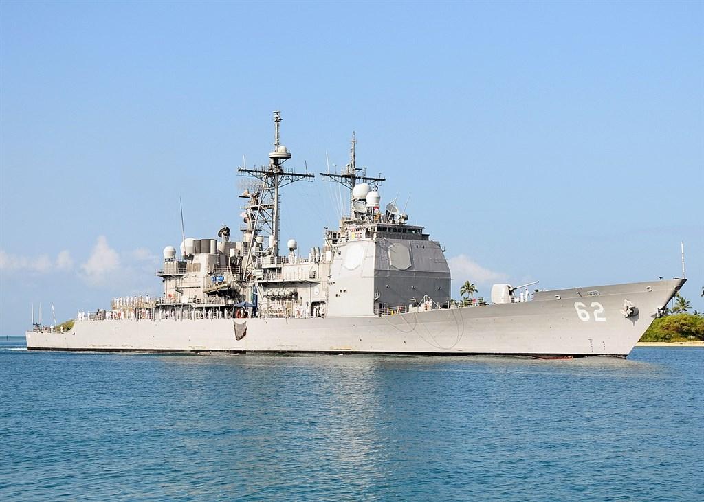 美國巡洋艦昌塞勒斯維號(CG-62)12日由北向南航經台灣海峽,預計13日上午離開防空識別區。(圖取自維基共享資源網頁,版權屬公有領域)