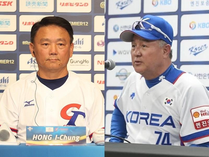 世界12強複賽中華隊7比0擊退韓國隊,這是繼2008年8搶3資格賽與北京奧運後,總教練洪一中(左)與韓國監督金卿文(右)第3度交手。(左圖為中央社檔案照片;右圖取自www.instagram.com/kbo.official)
