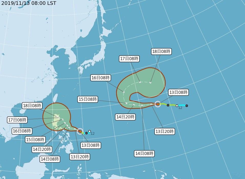 根據中央氣象局資料,原位在菲律賓東方海面的熱帶性低氣壓13日上午發展成輕度颱風「海鷗」(左),預測向西北西進行,16日之後將為台灣東半部帶來水氣。(圖取自中央氣象局網頁www.cwb.gov.tw/V8/C/)