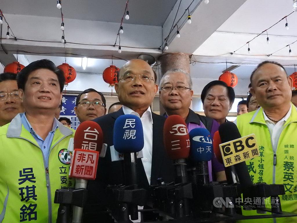 針對民進黨不分區立委名單卡游錫堃的傳聞,行政院長蘇貞昌(前左2)16日受訪表示,這次提名過程中都是講原則,沒有針對個人,也沒有推薦任何人,傳聞都是編故事的揣測。中央社記者王鴻國攝  108年11月16日